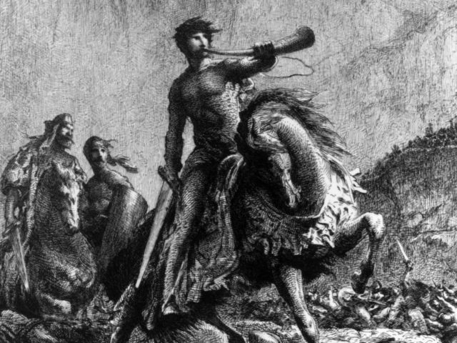 778 AD, The historic hero Roland, a nephew of Charlemagne, is set upon by the Saracens while guarding the pass at Roncesvalles in the Pyrenees. He is depicted holding the sword Durandel and blowing on the horn Oliphant, to summon aid from the king before he meets (Photo by Rischgitz/Getty …