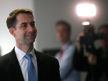 WASHINGTON, DC - MARCH 08: Sen. Tom Cotton (R-AR) walks to a closed door Senate Intelligence Committee meeting, on March 8, 2018 in Washington, DC. The committee is investigating alleged Russian interference in the 2016 U.S. presidential election. (Photo by Mark Wilson/Getty Images)