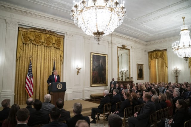 WASHINGTON, DC - NOVEMBER 6: U.S. President Donald Trump speaks about judicial confirmations during an event in the East Room of the White House on November 6, 2019 in Washington, DC. More than 150 of the president's federal judicial nominees have been confirmed by the Republican-controlled Senate. (Photo by Drew …