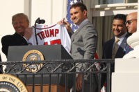 WASHINGTON, DC - NOVEMBER 04: Washington Nationals first baseman Ryan Zimmerman presents U.S. President Donald Trump with a team jersey during a celebration of the 2019 World Series Champions at the White House November 04, 2019 in Washington, DC. The Nationals are Washington's first Major League Baseball team to win …