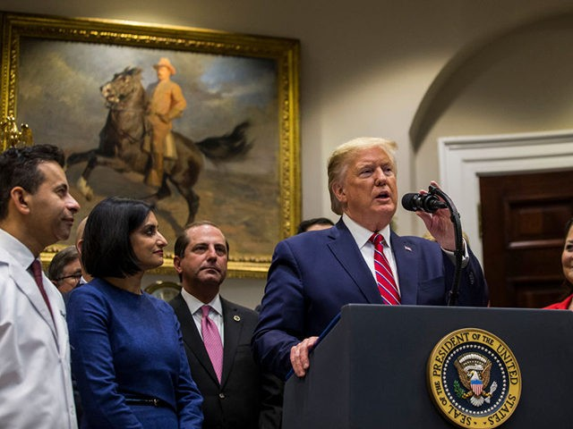 WASHINGTON, DC - NOVEMBER 15: US President Donald Trump delivers remarks in the Roosevelt Room at the White House on November 15, 2019 in Washington, DC. President Trump discussed transparency in health care prices. (Photo by Zach Gibson/Getty Images)