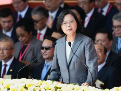 "Taiwan President Tsai Ing-Wen speaks during National Day celebrations in front of the Presidential Palace in Taipei on October 10, 2019. - President Tsai Ing-wen pledged October 10 to defend Taiwan's sovereignty, calling it the ""overwhelming consensus"" among Taiwanese people to reject a model that Beijing has used to rule …"