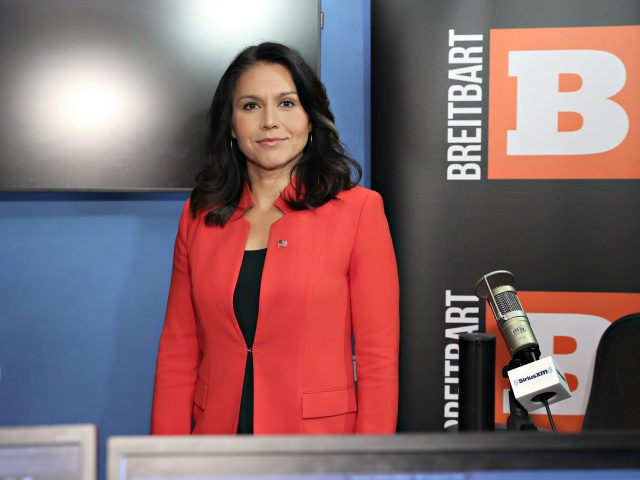 "Rep. Tulsi Gabbard talks with SiriusXM's ""Breitbart News Daily"" at SiriusXM Studios on November 7, 2019 in New York City. (Photo by Cindy Ord/Getty Images for SiriusXM)"
