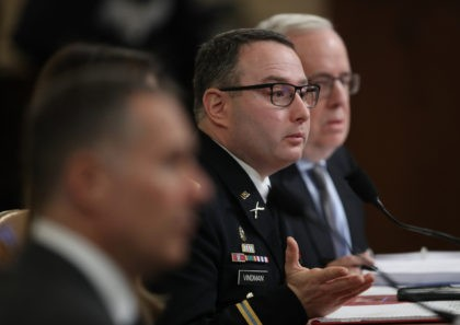 WASHINGTON, DC - NOVEMBER 19: Lt. Col. Alexander Vindman, National Security Council Director for European Affairs, testifies before the House Intelligence Committee in the Longworth House Office Building on Capitol Hill November 19, 2019 in Washington, DC. The committee heard testimony during the third day of open hearings in the …