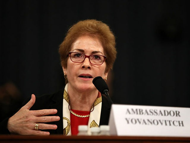 WASHINGTON, DC - NOVEMBER 15: Former U.S. Ambassador to Ukraine Marie Yovanovitch testifies before the House Intelligence Committee in the Longworth House Office Building on Capitol Hill November 15, 2019 in Washington, DC. In the second impeachment hearing held by the committee, House Democrats continue to build a case against …
