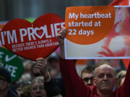 "People hold up placards during a ""Stand up for Life"" rally calling for a 'no' vote in the upcoming referendum, to preserve the eighth amendment of the Irish constitution, a subsection that effectively outlaws abortion in most cases, in Dublin on May 12, 2018. - Ireland will hold a referendum …"