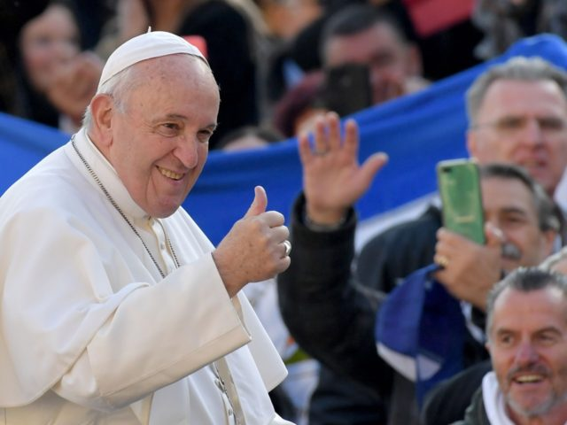 Pope Francis gestures to worshipers as he arrives for the weekly general audience on November 27, 2019 at St. Peter's Square in the Vatican. (Photo by Tiziana FABI / AFP) (Photo by TIZIANA FABI/AFP via Getty Images)