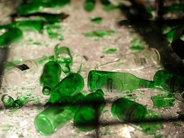 broken beer bottles