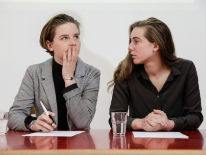 Climate activist Anuna De Wever and Climate activists Adelaide Charlier pictured during a press conference to present the report by the 'Panel for the Climate', on demand of 'Youth for Climate', in Brussels, Tuesday 14 May 2019. The organizers of the ongoing student strike action 'Youth For Climate', urging pupils …