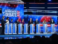 (L-R) Democratic presidential hopefuls New Jersey Senator Cory Booker, Representative for Hawaii Tulsi Gabbard, Minnesota Senator Amy Klobuchar, Mayor of South Bend Pete Buttigieg, Massachusetts Senator Elizabeth Warren, Former Vice President Joe Biden, Vermont Senator Bernie Sanders, California Senator Kamala Harris, tech entrepreneur Andrew Yang and billionaire-philanthropist Tom Steyer participate …
