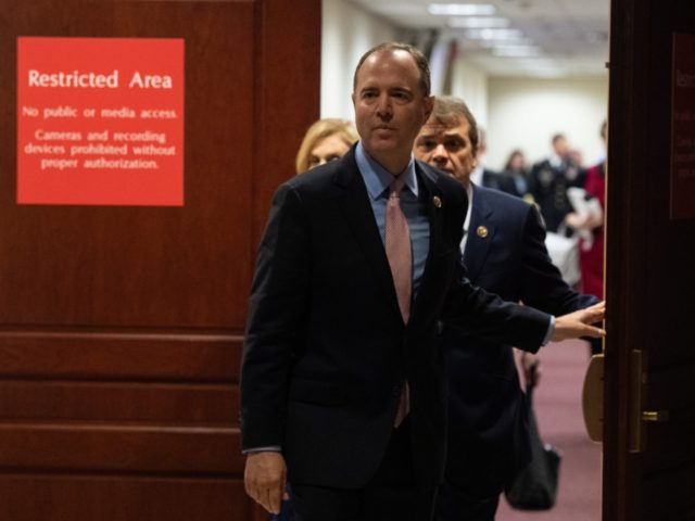 US House Intelligence Committee chairman Adam Schiff arrives to speak to the press during a closed hearing with Under Secretary of State for Political Affairs David Hale as part of the impeachment inquiry at the US Capitol in Washington, DC, on November 6, 2019. (Photo by NICHOLAS KAMM / AFP) …