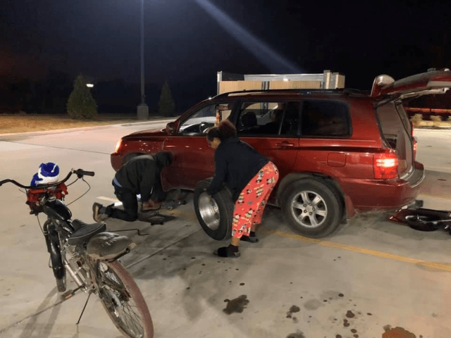 So I'm at RaceTrac at 2:45 AM when I woke up this morning getting gas and coffee when I notice a guy changing a tire with a scissor jack and I ask him if he wants to use my floor jack. When I get down and start helping out, I …