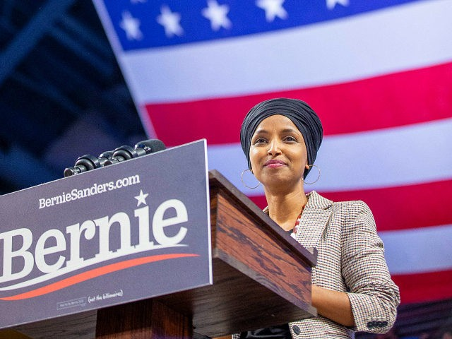 Representative Ilhan Omar Democrat of Minnesota speaks during a campaign Rally in Minneapolis, Minnesota, November 3, 2019. (Photo by Kerem Yucel / AFP) (Photo by KEREM YUCEL/AFP via Getty Images)