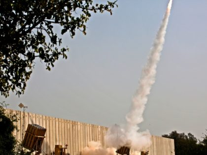 An Israeli interception missile from the Iron Dome defence system, is fired above the southern Israeli city of Ashkelon on November 13, 2019, to intercept incoming short-range rockets launched from the Palestinian Gaza Strip. - Two more Palestinians were killed in the morning in an Israeli strike in the Gaza …