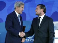 WASHINGTON, DC - SEPTEMBER 15: U.S. Secretary of State John Kerry (L) shakes hands with actor and environmental activist Leonardo DiCaprio after he announced the launch of the Global Fishing Watch during the Our Oceans conference at the State Department's Harry S. Truman building September 15, 2016 in Washington, DC. …