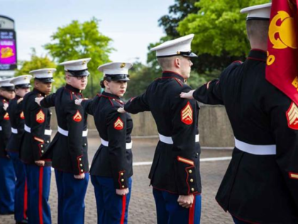 Members of the Marine Corps Band have their Dress Blue Alpha uniforms inspected during the Virginia International Tattoo at Scope Arena, Norfolk, VA., on April 24, 2019. (U.S. Marine Corps photo by Lance Cpl. Yuritzy Gomez)