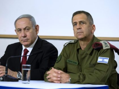 TEL AVIV, ISRAEL - NOVEMBER 12: Israeli Prime Minister Benjamin Netanyahu and IDF Chief Aviv Kochavi during a statemnent to the press following latest development on November 12, 2019 in Tel Aviv, Israel. The IDF have announced they have killed the senior commander of the militant group Palestinian Islamic Jihad, …
