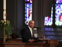 "BOSTON, MA - APRIL 18: Massachusetts Gov. Deval Patrick speaks at an interfaith prayer service for victims of the Boston Marathon attack titled ""Healing Our City,"" at the Cathedral of the Holy Cross on April 18, 2013 in Boston, Massachusetts. Authorities investigating the attack on the Boston Marathon have shifted …"