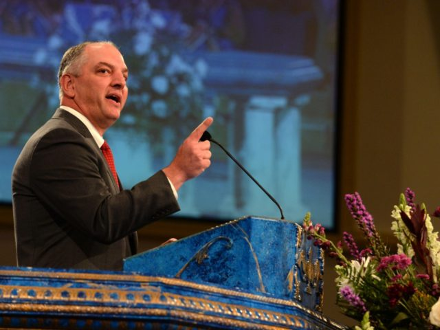 BATON ROUGE, LA - JULY 25: Louisiana Gov. John Bel Edwards, speaks during funeral services for Baton Rouge police corporal Montrell Jackson at the Living Faith Christian Center July 25, 2016 in Baton Rouge, Louisiana. Jackson and multiple police officers were killed and wounded July 17, in a shooting near …