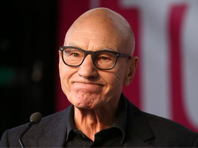 """British actor Patrick Stewart speaks on stage in Parliament Square in central London on October 19, 2019, during a rally by the People's Vote organisation calling for a final say in a second referendum on Brexit. - Thousands of people march to parliament calling for a """"People's Vote"""", with an …"""