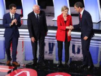 DETROIT, MICHIGAN - JULY 30: Democratic presidential candidates former Texas congressman Beto O'Rourke (L-R), Sen. Elizabeth Warren (D-MA), and Sen. Bernie Sanders (I-VT), and South Bend, Indiana Mayor Pete Buttigieg take the stage at the Democratic Presidential Debate at the Fox Theatre July 30, 2019 in Detroit, Michigan. 20 Democratic …