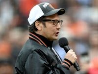 SAN FRANCISCO, CA - OCTOBER 14: Comedian/actor Rob Schneider speaks to the fans before the San Francisco Giants take on the St. Louis Cardinals before Game Three of the National League Championship Series at AT&T Park on October 14, 2014 in San Francisco, California. (Photo by Thearon W. Henderson/Getty Images)