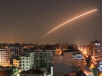 TOPSHOT - Israeli missile launched from the Iron Dome defence missile system, designed to intercept and destroy incoming short-range rockets and artillery shells, is seen above Gaza city on November 12, 2019. (Photo by BASHAR TALEB / AFP) (Photo by BASHAR TALEB/AFP via Getty Images)