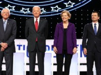 WESTERVILLE, OHIO - OCTOBER 15: Sen. Bernie Sanders (I-VT), former Vice President Joe Biden, Sen. Elizabeth Warren (D-MA), and South Bend, Indiana Mayor Pete Buttigieg are introduced before the Democratic Presidential Debate at Otterbein University on October 15, 2019 in Westerville, Ohio. A record 12 presidential hopefuls are participating in …