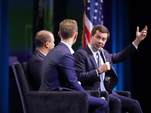 WASHINGTON, DC - OCTOBER 28: Democratic presidential candidate and South Bend, Indiana Mayor Pete Buttigieg (R) is interviewed by former Obama Administration officials Ben Rhodes and Tommy Vietor during the J Street National Conference at the Walter E. Washington Convention Center October 28, 2019 in Washington, DC. Buttigieg and three …