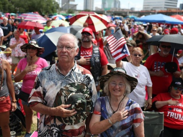 ORLANDO, FLORIDA - JUNE 17: Supporters turn out hours before U.S. President Donald Trump is to appear at a rally to officially announce his 2020 reelection bid at the Amway Center on June 18, 2019 in Orlando, Florida. Tens of thousands of requests for tickets, according to the Trump campaign, …