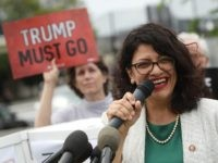 WASHINGTON, DC - MAY 09: Rep. Rashida Tlaib (D-MI) speaks during an event with activist groups to deliver over ten million petition signatures to Congress urging the U.S. House of Representatives to start impeachment proceedings against President Donald Trump on Capitol Hill May 9, 2019 in Washington, DC. (Photo by …