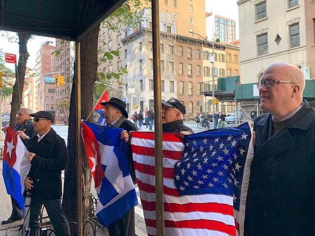Cuban and American human rights activists hold a vigil for Armando Sosa Fortuny, who died in Cuban prison after serving 43 years in political prison, in front of the Cuban U.N. offices on November 1, 2019. (Courtesy Assembly of the Cuban Resistance)