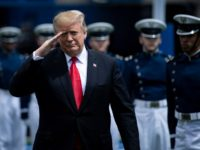 US President Donald Trump salutes as he arrives for the 2019 graduation ceremony at the United States Air Force Academy May 30, 2019, in Colorado Springs, Colorado. (Photo by Brendan Smialowski / AFP) (Photo credit should read BRENDAN SMIALOWSKI/AFP via Getty Images)