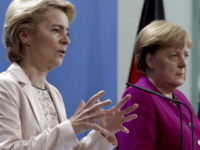 German Chancellor Angela Merkel, right, and the designated President of the European Commission, Ursula von der Leyen, left, address the media during a joint press conference after a meeting at the chancellery in Berlin, Germany, Friday, Nov. 8, 2019. (AP Photo/Michael Sohn)