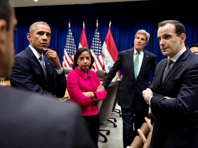 President Barack Obama meets with advisors prior to a bilateral meeting with Prime Minister Haider al-Abadi of Iraq at the United Nations in New York, N.Y., Sept. 24, 2014. With the President from left are: Phil Gordon, White House Coordinator for Middle East, North Africa and the Gulf Region; National …