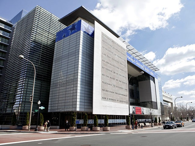FILE - This March 30, 2009 file photo shows the Newseum in Washington. The founder and main funder of the Newseum, a Washington museum devoted to journalism and the First Amendment, announced Friday, Jan. 25, 2019, that they have reached a deal to sell the sleek steel-and-glass property on a prime …