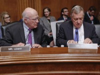 Sen. Patrick Leahy, D-Vt., left, and Sen. Richard Durbin, D-Ill., right, prepare to hear testimony by Acting Department of Homeland Security Secretary Kevin McAleenan at the Senate Judiciary Committee on Capitol Hill in Washington, Tuesday, June 11, 2019. (AP Photo/Pablo Martinez Monsivais)
