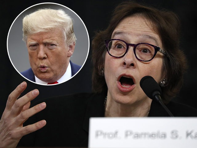 (INSET: President Donald Trump) Constitutional law expert Stanford Law School professor Pamela Karlan testifies during a hearing before the House Judiciary Committee on the constitutional grounds for the impeachment of President Donald Trump, Wednesday, Dec. 4, 2019, on Capitol Hill in Washington. (AP Photo/Jacquelyn Martin)