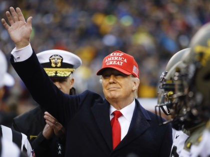 Donald Trump Flips Coin at Army-Navy Game Wearing Keep America Great Hat