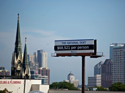 MILWAUKEE, WISCONSIN - SEPTEMBER 18: Billboard showing the national debt and each Americans share is displayed on September 18, 2019 in downtown Milwaukee, Wisconsin. (Photo by Darren Hauck/Getty Images for PGPF)