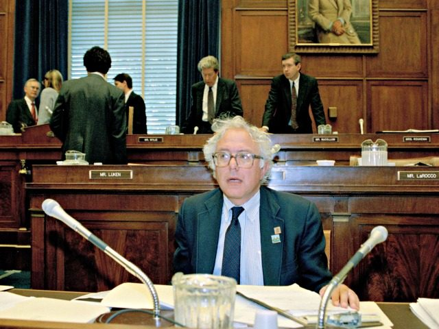 Vermont Rep. Bernard Sanders, sitting in his seat in the Banking Committee room, Aug. 11, 1991, is the first member of the U.S. House in more than 50 years not to be affiliated with either the Republican or Democratic caucuses. He is a Socialist in a body dominated by moderates …