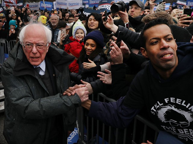 NEW YORK, NEW YORK - MARCH 02: Democratic Presidential candidate U.S. Sen. Bernie Sanders (I-VT) greets supporters at Brooklyn College on March 02, 2019 in the Brooklyn borough of New York City. Sanders, a staunch liberal and critic of President Donald Trump, is holding his first campaign rally of the …