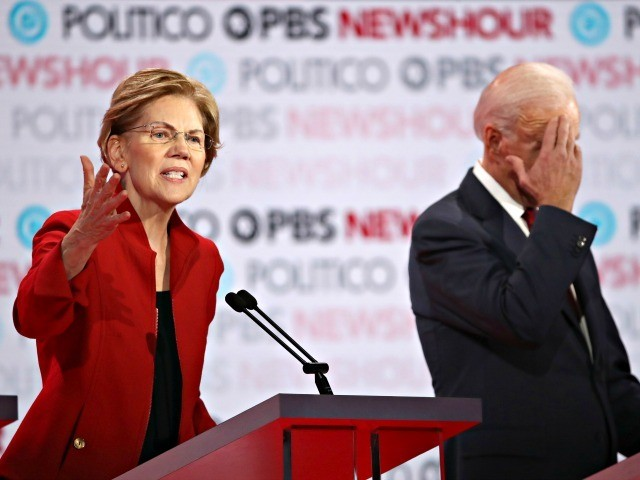 LOS ANGELES, CALIFORNIA - DECEMBER 19: Sen. Elizabeth Warren (D-MA) speaks as former Vice President Joe Biden listens during the Democratic presidential primary debate at Loyola Marymount University on December 19, 2019 in Los Angeles, California. Seven candidates out of the crowded field qualified for the 6th and last Democratic …