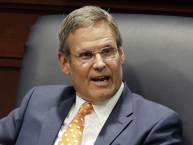 FILE - In this April 17, 2019, file photo, Tennessee Gov. Bill Lee takes part in a discussion on state-level criminal justice reform in Nashville, Tenn. Republican Gov. Bill Lee says Tennessee won't stop resettling refugees under an option offered to states by President Donald Trump's administration. (AP Photo/Mark Humphrey, …