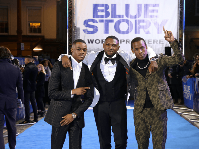 """LONDON, ENGLAND - NOVEMBER 14: (L-R) Stephen Odubola, Rapman and Micheal Ward attend the World Premiere of """"Blue Story"""" at Curzon Cinema Mayfair on November 14, 2019 in London, England. (Photo by Tim P. Whitby/Getty Images for Paramount)"""