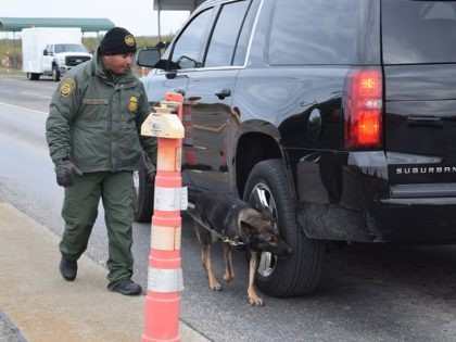 A Del Rio Sector Border Patrol agent and K-9 carry out an initial inspection at an interior immigration checkpoint. (File Photo: Bob Price/Breitbart Texas)