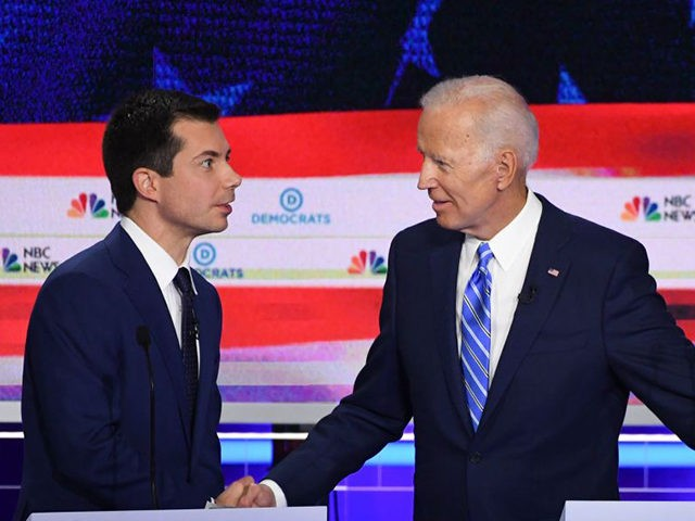 Democratic presidential hopefuls Mayor of South Bend, Indiana Pete Buttigieg (L) and Former US Vice President Joseph R. Biden (R) shake hands after the second Democratic primary debate of the 2020 presidential campaign season hosted by NBC News at the Adrienne Arsht Center for the Performing Arts in Miami, Florida, …