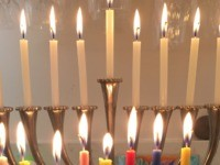 Chanukah lights (Joel Pollak / Breitbart News)