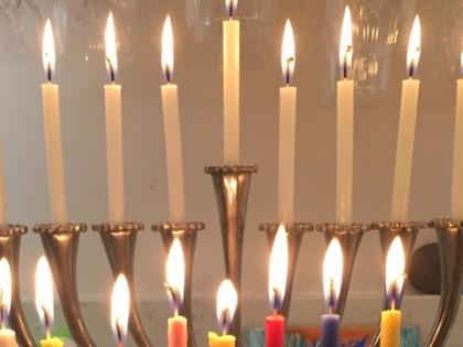 Chanukah lights (Joel Pollak / Breitbart News)