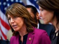 Congresswoman Cindy Axne (D-IA) speaks as Cheri Bustos (D-IL) (R) looks on during a press conference with other Mayor's and House of Representative members calling on US President Donald Trump and Congress to end the shutdown in Washington, DC on January 24, 2019. (Photo by ANDREW CABALLERO-REYNOLDS / AFP) (Photo …